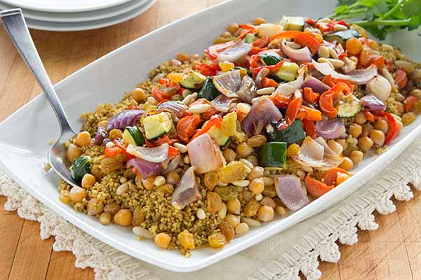 Moroccan Spiced Couscous with Chickpeas and Roasted Vegetables