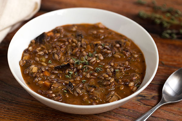 A simple, savory, satisfying soup made with meaty portabella mushrooms and hearty black barley.