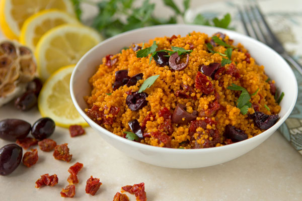 Sun-Dried Tomato Couscous with Roasted Garlic and Olives