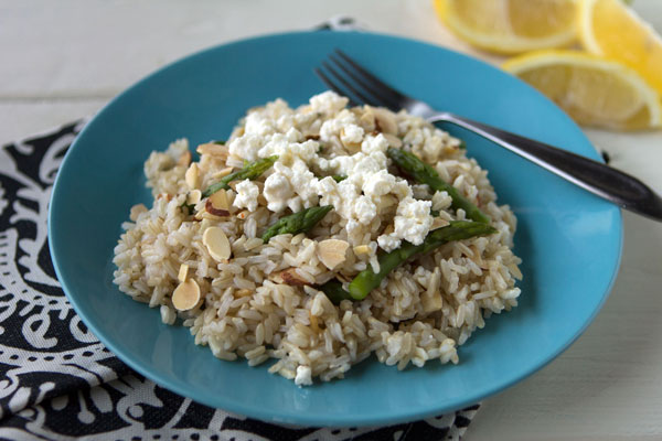 Lemony Brown Rice Salad with Asparagus and Goat Cheese