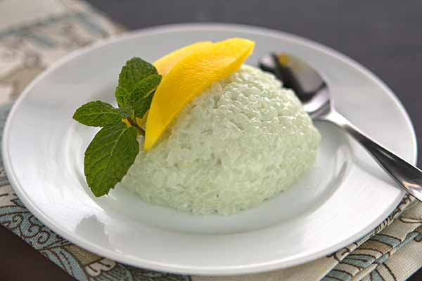 Coconut Bamboo Rice Pudding with Mango
