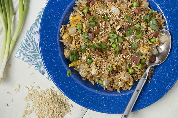 Brown Rice with Peas, Onions and Bacon