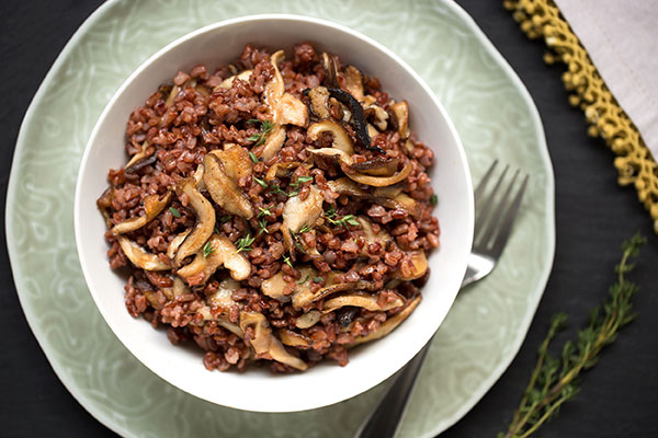 Thyme-Scented Bhutanese Red Rice Pilaf with Mushrooms