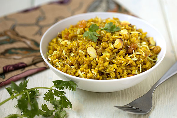 Curried Sprouted Brown Rice (Gaba) Rice Pilaf