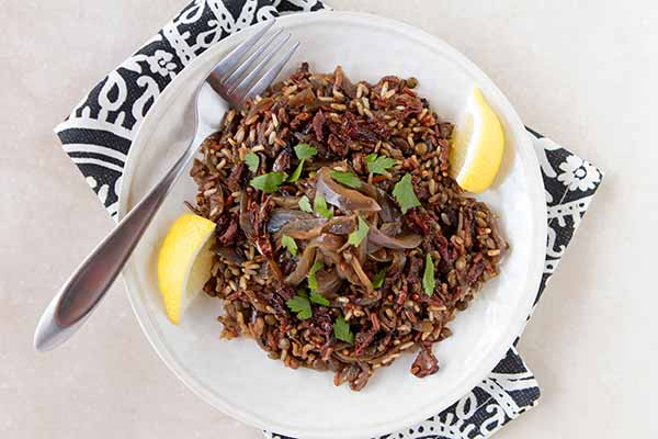 Rustic Lentil-Rice Pilaf with Caramelized Onions