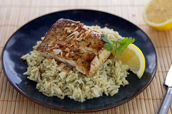 Coconut Curry Rice with Steamed Mahi-Mahi