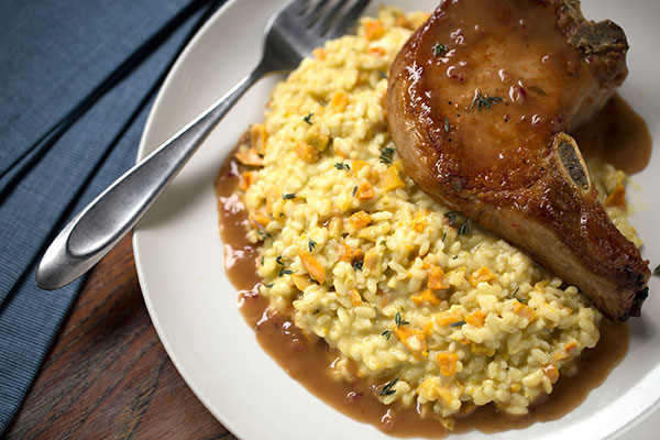 Pan-Seared Pork Chops and Pumpkin Risotto